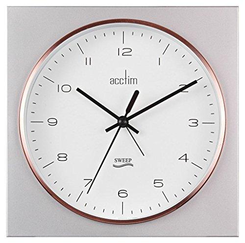 Acctim lunz Cuadrado Pared o Mesa Alarma Reloj en plata y rosa color oro