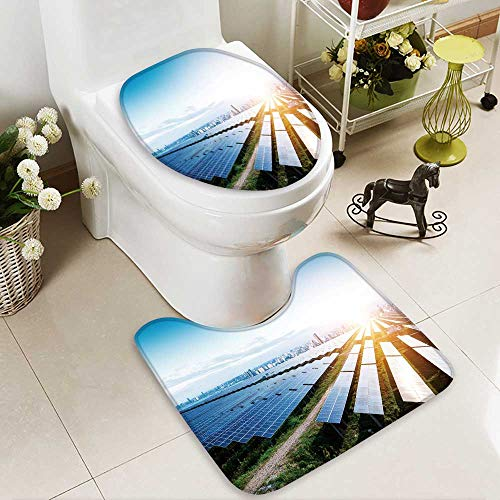 Analisahome Toilet carpet floor mat solar panels with the sunny sky blue solar panels background of 2 Piece Shower Mat set by Analisahome