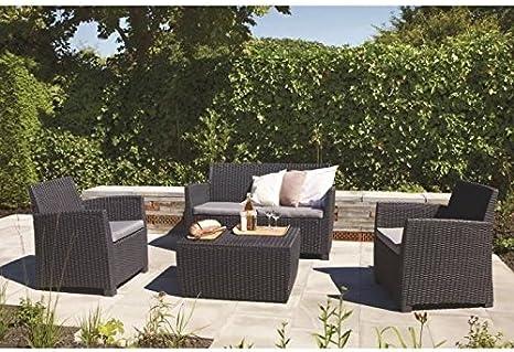Allibert Jardin Corona - Conjunto de muebles para jardín (trenzado, redondo), aspecto ratán: Amazon.es: Hogar