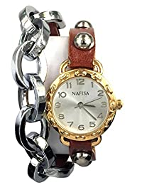 KTC Nafisa Women Round Dial Metal Chain/Leather with Rivet Double Wrap Strap Wrist Watch NA-0025