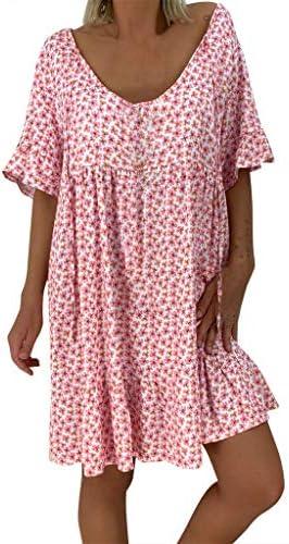 Women`s Ladies Loose Print Short Sleeve Mini Long Dress Summer Dress / Women`s Ladies Loose Print Short Sleeve Mini Long Dress Summer Dress