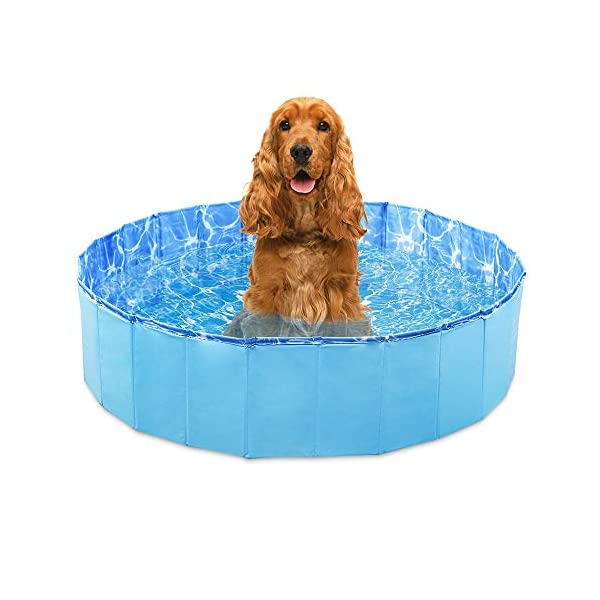 GoPetee Foldable Dog Swimming Pool Puppy Cats Paddling Pool Bathing Tub for Pet Children Kid (Ocean Wave, 80 * 20CM,) 1