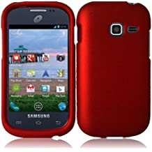 5-in-1 Bundle For Samsung Galaxy Centura S738C - Red Rubberized Hard Case Snap-on Cover + Clear LCD Screen Protector + Car Charger + Home Travel Charger + Sync USB Data Cable