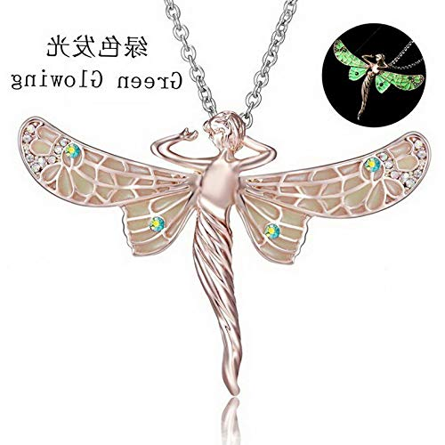Kaputar Crystal Glow in The Dark Angel Wings Pendant Chain Necklace Women Jewelry New | Model NCKLCS - 18038 |