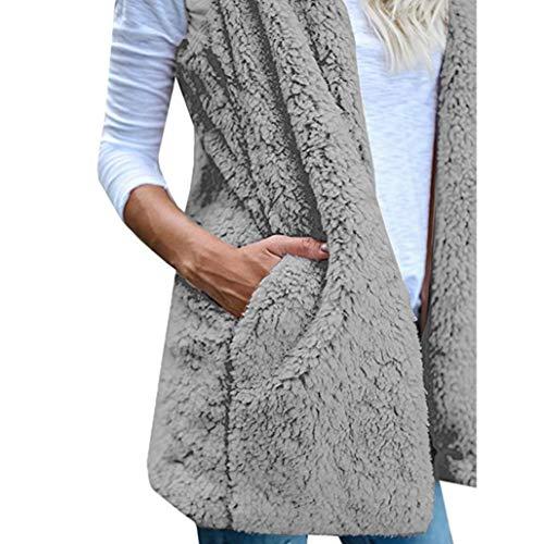 Hiver d'hiver en Capuche Fourrure Gris Manteau pour Veste sans Gilet Capuche Femme Zippe Gilet Manteau Familizo Chaud Fausse Femmes Manches wqXyUHc85