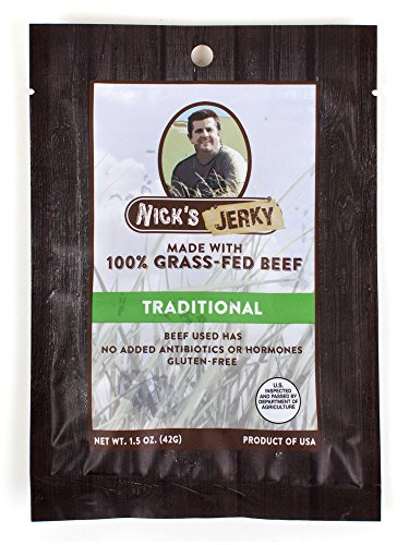 Nick's Jerky, Traditional 100% Grass-Fed Beef Jerky - Gluten Free - No Antibiotics or Hormones, 1.5-Ounce Pouches (Pack of 6)