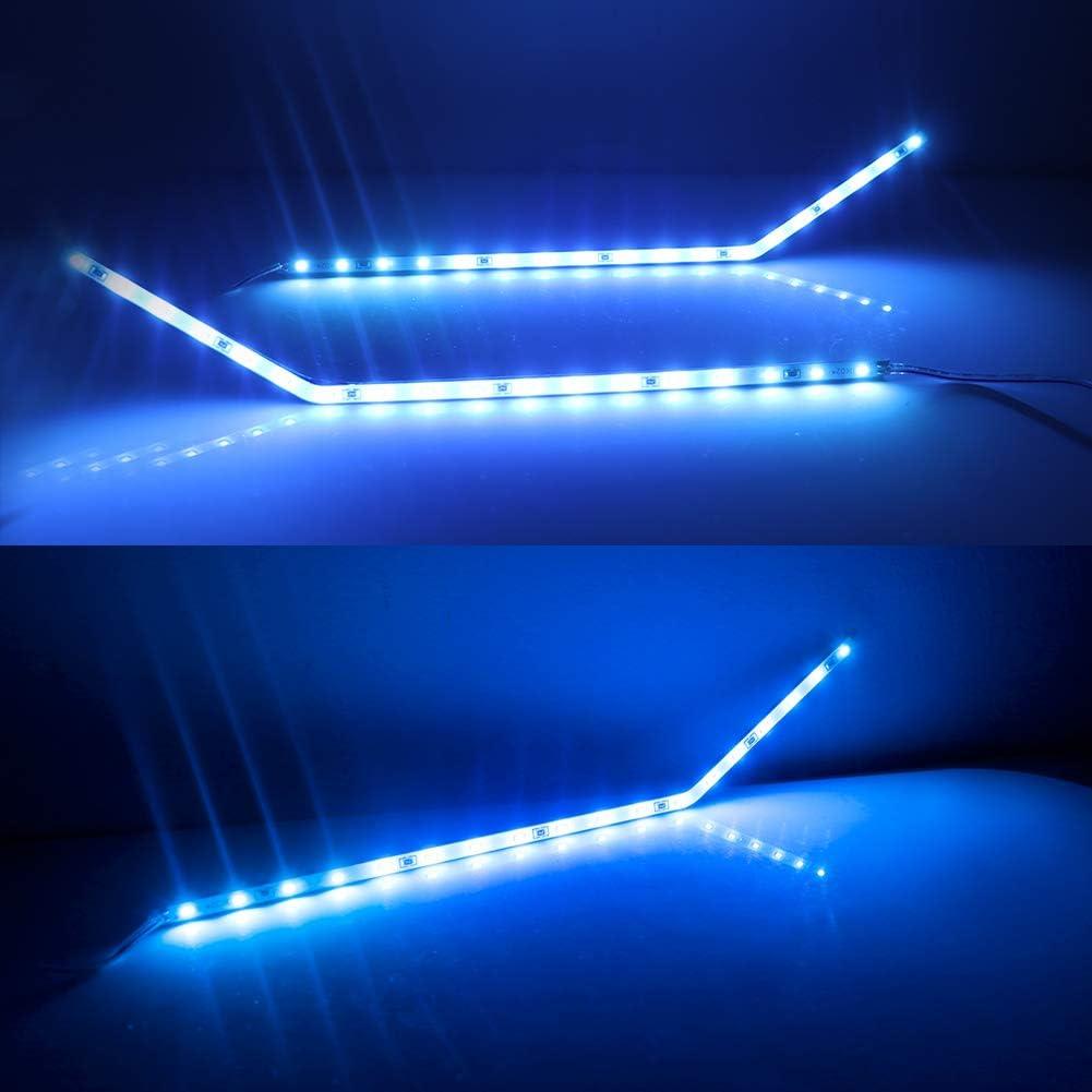 Adiil Blue LED Background Illumination Kit Compatible With 2017-2020 Ford F250 F350 F450 Super Duty Side Fender Chrome Emblem