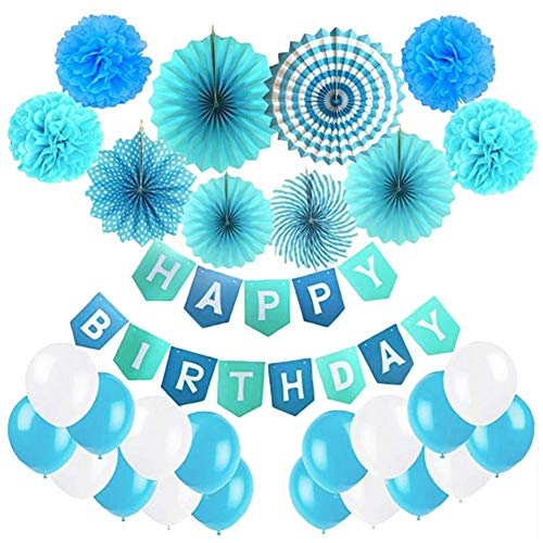 Centishop Happy Birthday Banner,Hanging Swirls,Paper Garland,Decorations,Paper Fans Lanterns Balloons Birthday Party Supplies -