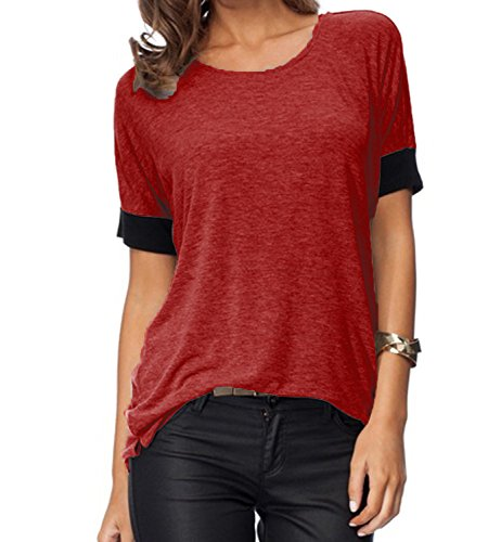 (Sarin Mathews Women's Casual Round Neck Loose Fit Short Sleeve T-Shirt Blouse Tops Burgundy M)