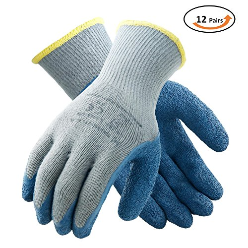 Tarantula Component - Tarantula Pack of 12 Pairs Nylon Precision Protective Safety Work Gloves, 10 Gauge Grey Polycotton Shell, Blue Crinkle Latex on Palm and Fingers