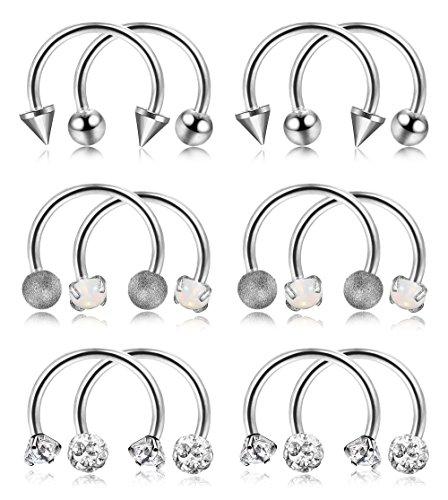 ORAZIO 12PCS 16G Stainless Steel Nose Septum Horseshoe Hoop Ring Eyebrow Lip Tragus Ear Piercing Body Jewelry Diameter 8MM
