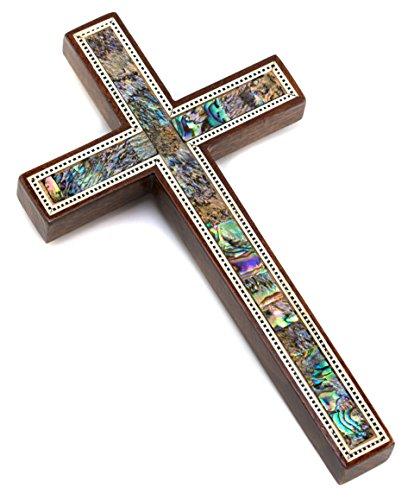 Leolana handmade Wall Cross – inlaid with Mother of Pearl  Paua Shell (7-17.8cm)