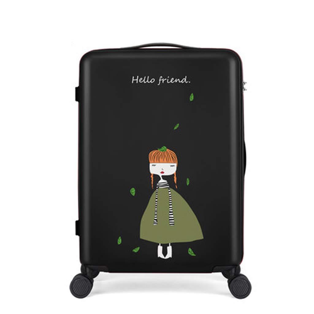 小さな新鮮な漫画のスーツケース24インチのキャスターボックス女性のかわいい大学生のスーツケース20インチのパスワードの搭乗ケース (色 : 黒, サイズ さいず : 24inch) 24inch 黒 B07LBJ9J1M