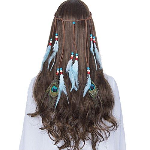 (Indian Feather Headband Hair Accessories NEW Festival Women Hippie Adjustable Headdress Boho Peacock Feather Hair Band 8089-a)