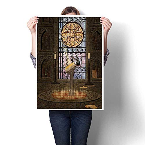 - SCOCICI1588 3D Hand Painting Lectern Pentagram Symbol Medieval Architecture Candlelight in Dark Spell Art Modern Abstract Wall Art for Living Room,32
