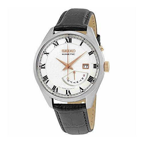 Seiko Kinetic 100 Meter - Seiko Kinetic SRN073 White Dial Black Leather Band Men's Watch