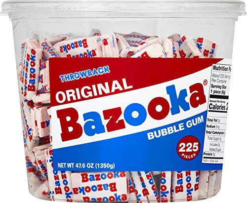 Bazooka Individually Wrapped Bubble Gum, Original Flavor, Nostalgia Retro Candy, 225 Count Bulk Tub