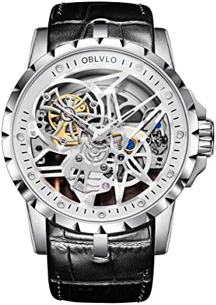 OBLVLO Open Work Design Mens Watches Skeleton Watch Automatic Waterproof RM1 Series