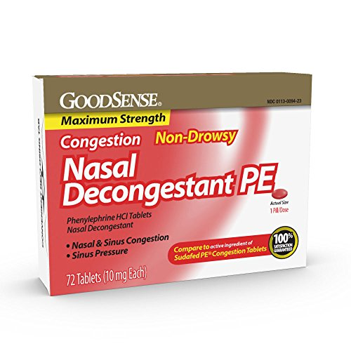 GoodSense Maximum Strength Nasal Decongestant PE, Phenylephrine HCl, 10 mg tablets. Nasal and Sinus Congestion, Sinus Pressure, 72 Count (Tylenol Sinus Daytime)