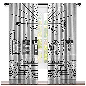 youpinnong Detroit, Blackout Curtains Kids, Detroit City Typography with Building Letters Transportation and Air Balloon, Curtains Kids Room, W96 x L108 Inch, Black and White