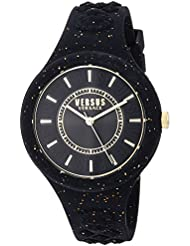 Versus by Versace Women's 'FIRE ISLAND GLITTER' Quartz Stainless Steel and Silicone Casual Watch, Color:Black (Model: VSPOQ1617)