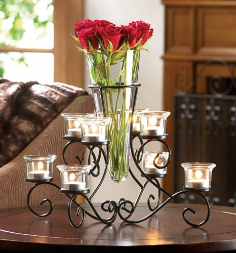 SCROLLWORK CANDLE STAND WITH VASE (Scrollwork Vase)