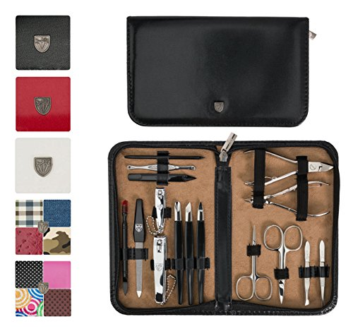3 Swords Germany - brand quality 16 piece manicure pedicure grooming kit set for professional finger & toe nail care scissors clipper fashion leather case in gift box, Made in Solingen Germany (21000)