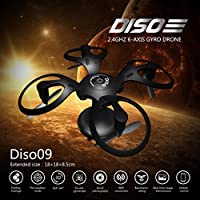 Leewa@ Diso09 Ball Shaped Foldable RC Drone, 2.4GHz 6-Axis Gyro Quadcopter with 0.3MP HD Camera/G-Sensor/Height Hold/WIFI Figure -Black