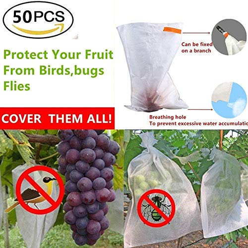 UPREDO 50pcs Fabric Fruit Plants Flowers Seeds Protection Netting Bags Prevent Birds Bugs Squirrels for Garden Farm by UPREDO