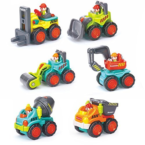 HOMOFY Baby Kids Car Toys, Early Educational Pocket Construction Vehicles Trucks Toy Sets -Bulldozer,Cement Mixer,Dumper,Forklift,Excavator and Road Roller for InfantToddlers 1,2,3 Years Old-6P