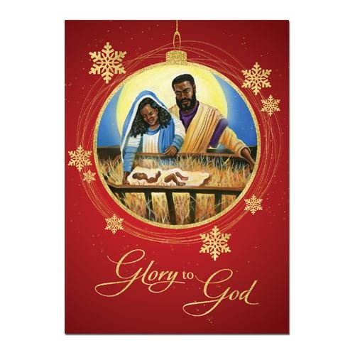 African American Expressions - Glory to God/Nativity with Mary, Joseph, and Jesus Boxed Christmas Cards (15 cards, 5