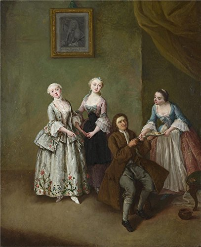 Oil Painting 'Pietro Longhi An Interior With Three Women And A Seated Man ' Printing On High Quality Polyster Canvas , 12 X 15 Inch / 30 X 37 Cm ,the Best Powder Room Gallery Art And Home Decor And Gifts Is This Vivid Art Decorative Canvas Prints