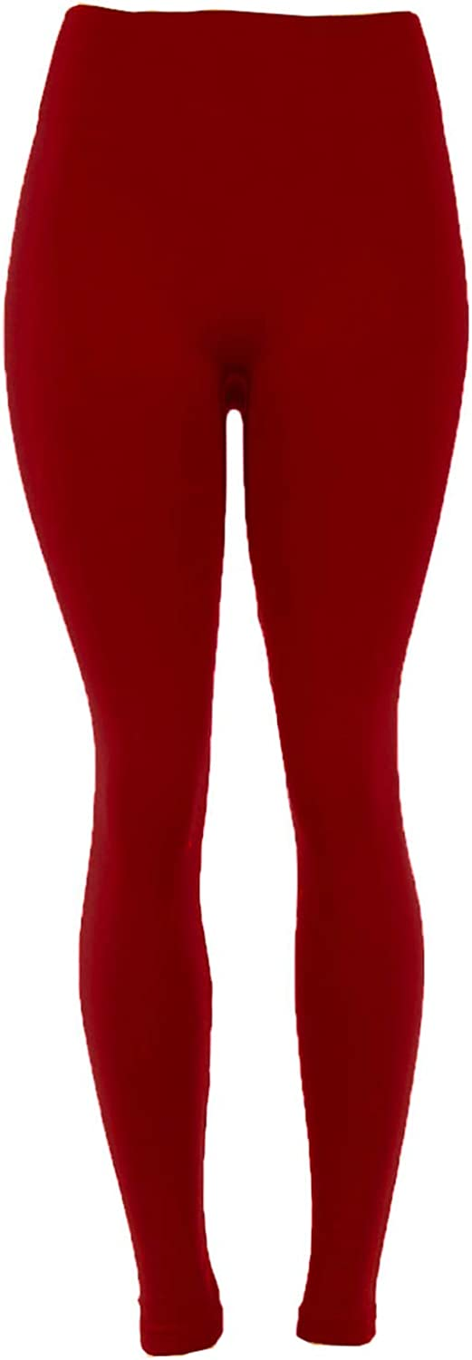 Docele Womens Regular /& Plus Size Fleece Lined Leggings-One Size-Red