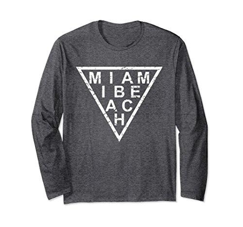 Unisex Stylish Miami Beach Long Sleeve T-Shirt 2XL Dark - Miami Beach Shopping At