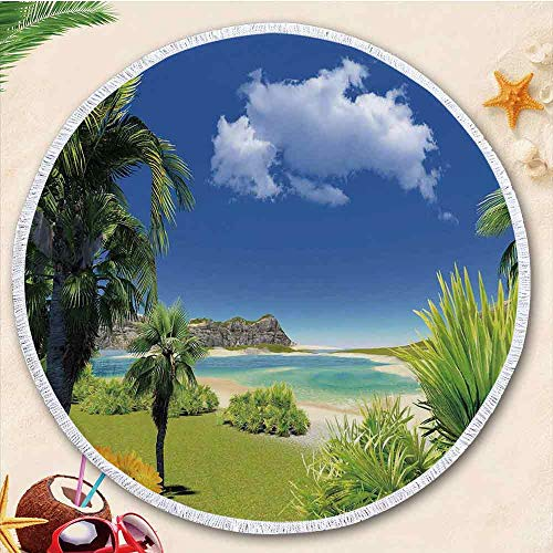 - YOLIYANA Tropical New Developed Thick Round Beach Towel Round Blanket 100% Microfiber Terry Cloth Quality with Tassels 70.87 Inches