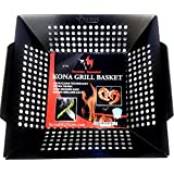 Kona Best Vegetable Grill Basket - Safe/Clean Porcelain Enameled BBQ Grilling Basket for Veggies, Kabobs, Seafood, Meats - 10 Year Guarantee