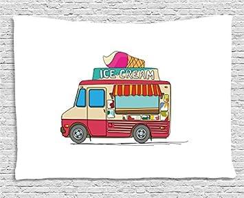 Tapisserie Camion Camionnette De Glaces Coloré Illustration
