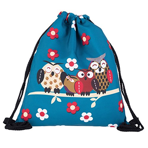Kukubird Cuatro Buhos En Rama Primavera/verano Diseño Cadena Simple Gimnasio Escuela Mochilas Four Owls Blue