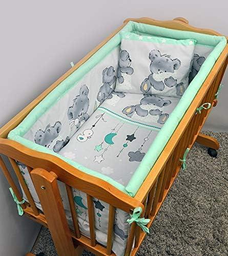 Juego de ropa de cama para cuna de 5 piezas con parachoques redondo de 90 x 40 cm Patr/ón 25