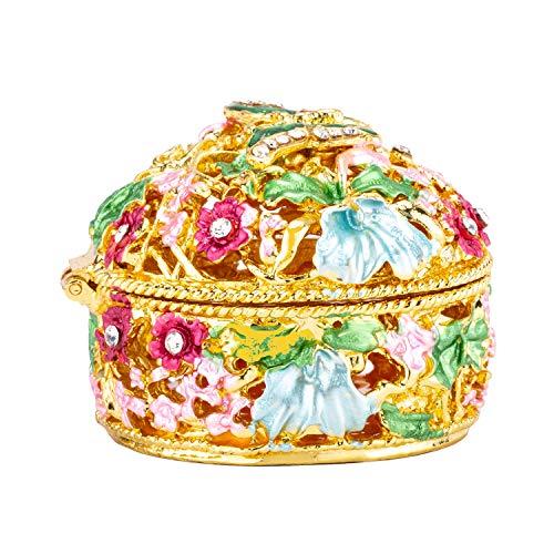 PAIQ Hollow Hand-Painted Vintage Box Enamel Ring Box Jewelry Box Trinket Box Decorative Box