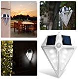 Solario Bright Solar Power Outdoor LED Light - Motion Sensor Activated Outside Wall Security LED Light - No Tools Required, Peel & Stick (4)