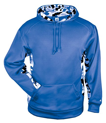 Badger Fleece Sweatshirt - Badger Mens Camo Color Block Hood (1469) -Graphite/Whi -L
