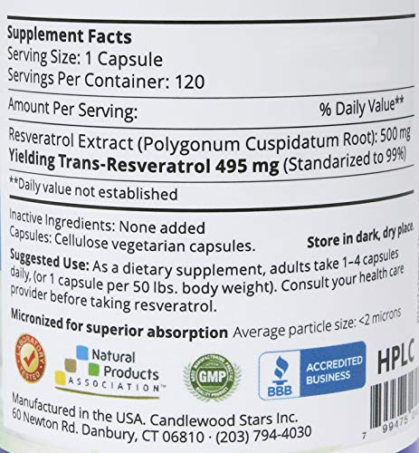 Mega Resveratrol, Pharmaceutical Grade, 99% Pure Micronized Trans-Resveratrol, 120 Vegetarian Capsules, 500 mg per Capsule. Purity Certified. Absolutely no excipients (aka Inactive Ingredients) Added by Mega Resveratrol (Image #2)