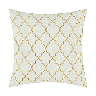 CaliTime Pillows Covers Linen Blend Vintage Diamonds Geometric Trellis Embroidered 17 X 17 Inches Gold