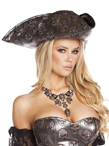 Roma Costume Women's Skull Embroidered Pirate Hat, Gunmetal, One - Skull Hat Pirate