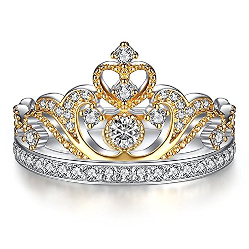 Romantic Fate Princess Style Crown Double Color Diamond Accented Bride Engagement Ring 8#