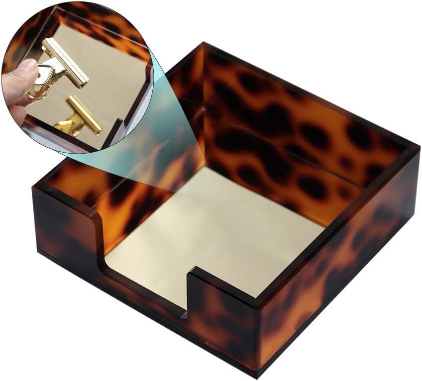 MultiBey Sticky Notes Memo Pad Holder Dispenser Tortoise Desk Supplies Organizer Accessories for Office Home Schools (Tortoise)