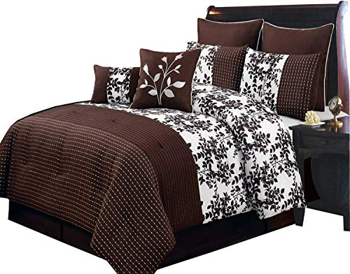 Comforters Olympic Queen - Bliss Chocolate and White Olympic Queen size Luxury 8 piece comforter set includes Comforter, bed skirt, pillow shams, decorative pillows