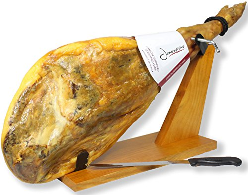 Serrano Ham Bone in from Spain 14.7-17 lb + Ham Stand + Knife | Cured Spanish Jamon Made with Mediterranean Sea Salt & NO Nitrates or Nitrites by Jamonprive (Image #1)
