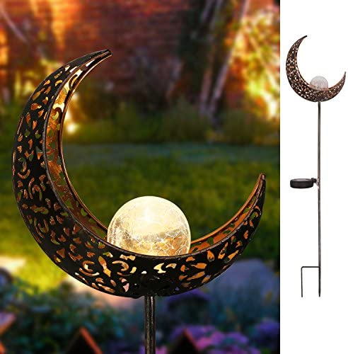 Homeimpro Garden Solar Lights Pathway Outdoor Moon Crackle Glass Globe Stake Metal Lights,Waterproof Warm White LED for Lawn,Patio or Courtyard Bronze